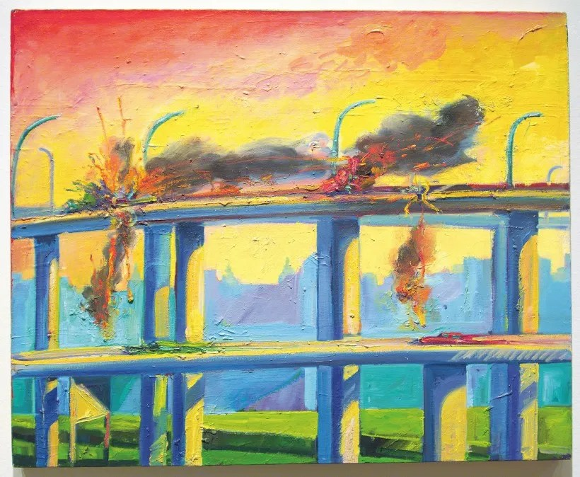 Sunset Crash painting by Carlos Almaraz from Cheech Marin's chicano artwork collection