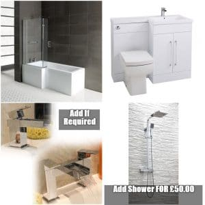 Full Package Deals Archives   Cheeky Bathrooms L Shape Shower Bath Bathroom Suite L Shape Vanity