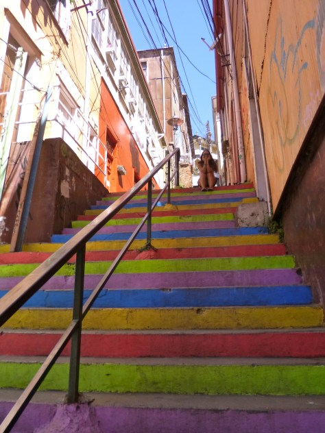 vibrant rainbow painted steps in Valparaiso Chile