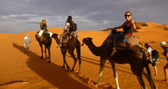 Camel ride through Sahara Desert, Morocco