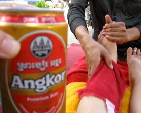 beer and foot massage seam reap cambodia
