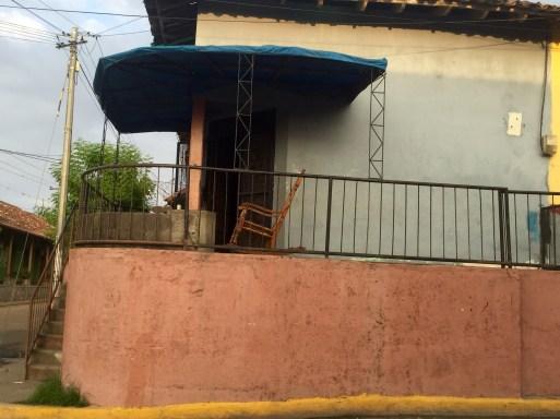 classic Nicaraguan rocking chair on calle in Granada Nicaragua