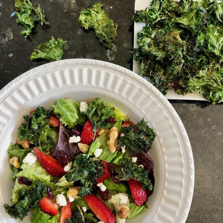 Maple Balsamic Kale Chip Salad