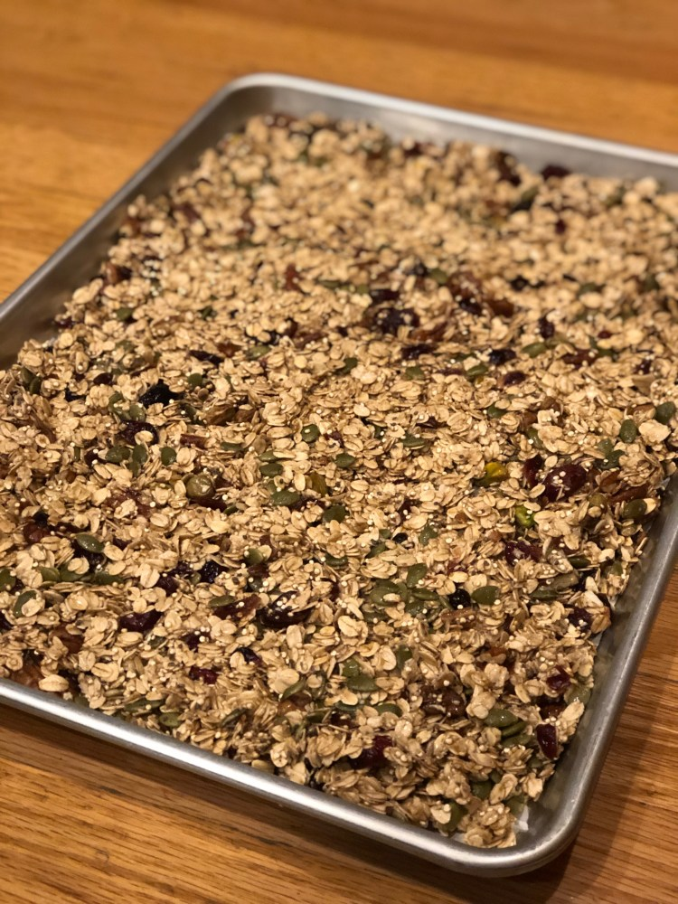 This holiday granola is filled with delicious nuts and warm spices. Perfect for gifting!