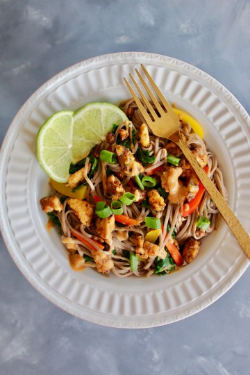 These Tempeh Thai Peanut Noodles feature fresh blanched veggies and my delicious peanut sauce! Flavorful, colorful, and packed with whole grains.