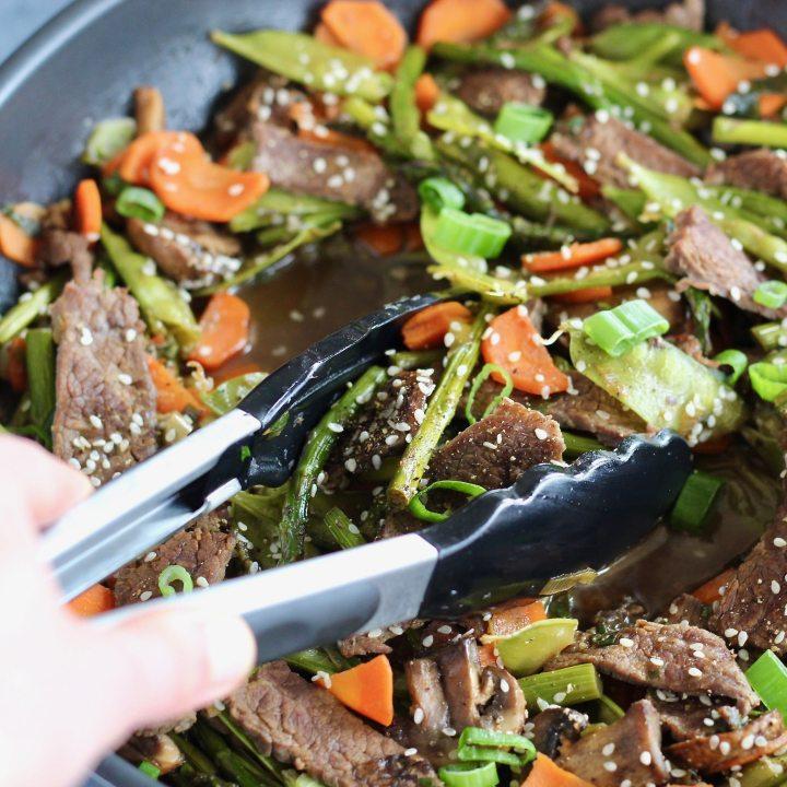 Spring Vegetable and Flank Steak Stir Fry