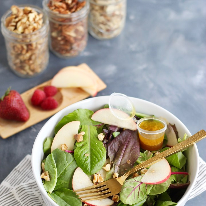 Simple Fruit & Nut Salad with Homemade Vinaigrette for One