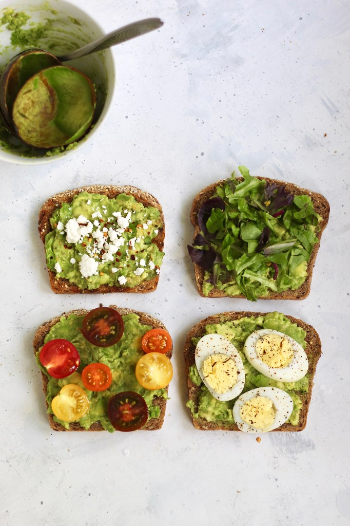 This isn't your average avocado toast. It's elevated with a special garlic rubbing technique and it's completely customizable. Top your toast with eggs, tomatoes, greens, or goat cheese! #vegetarian #avocadotoast #healthybreakfast #10minutemeal #customizable #CheerfulChoices
