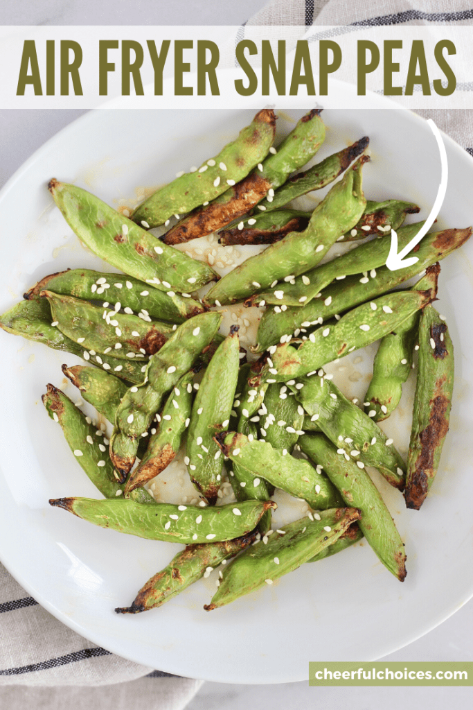 Air Fryer Snap Peas are the perfect savory and satisfying snack. This healthy recipe calls for just 2 ingredients and is less than 100 calories per serving. #HealthySnacks #SugarSnapPeas #AirFryer #TeriyakiSauce