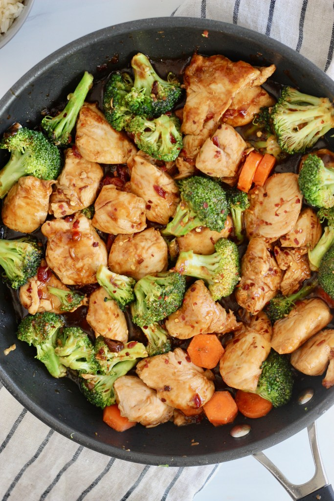 Close up of chicken and broccoli stir fry