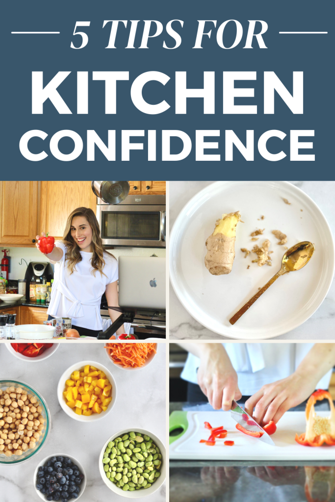 Collage of tips for kitchen confidence