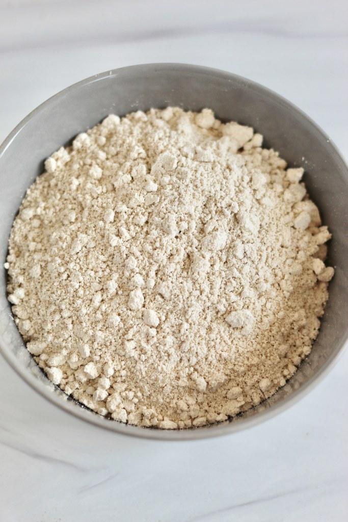Gray bowl of oat flouw