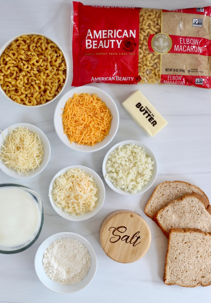 Ingredients laid out on white backdrop