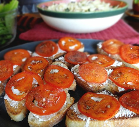 Fried Tomato and Goat Cheese Toasts via The Cheerful Kitchen