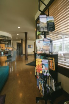 Brochure rack filled with tourist information