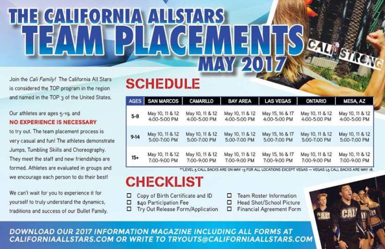 California All Stars Tryouts 2017