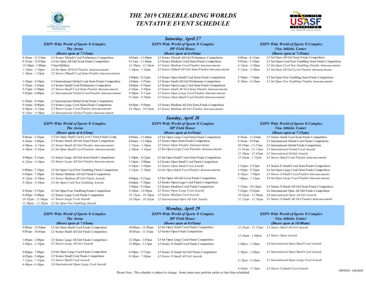 usasf_worlds_cheer_schedule_2019