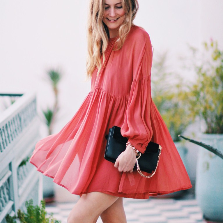 Red flowy dress