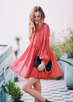 Red flowy dress