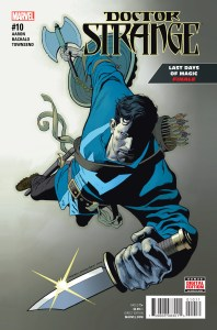 comic book cover dr strange #10 man in blue flying with sword