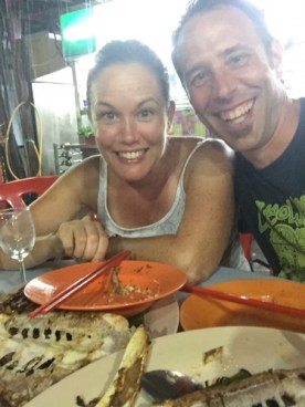 John and Lisa about to eat Chicken Fish
