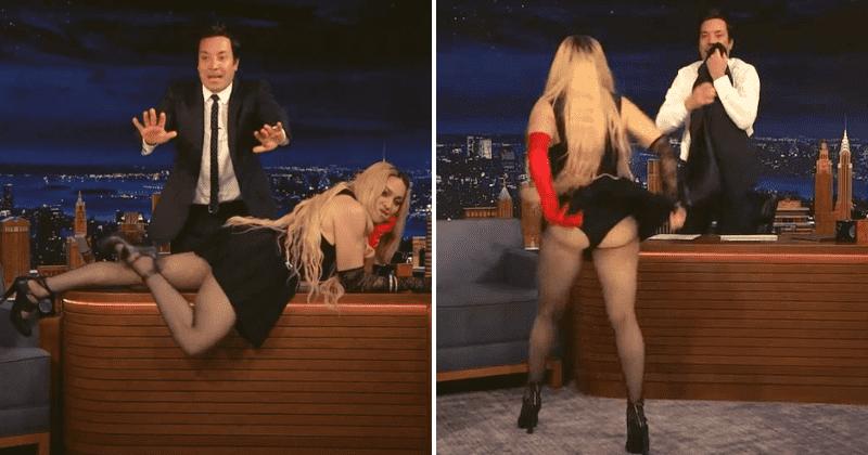 Madonna muestra su trasero en el escritorio de Jimmy Fallon, los espectadores sorprendidos lo llaman