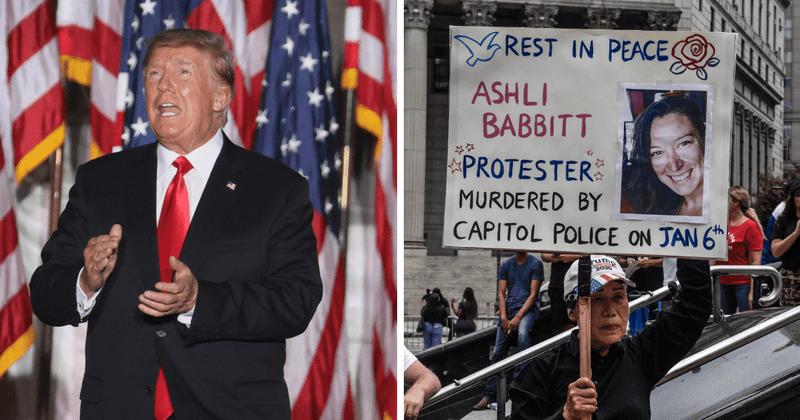 Trump graba el video del cumpleaños de Ashli Babbitt y la llama uno