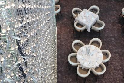 Blick in das Atlantik Restaurant mit LED Vorhang