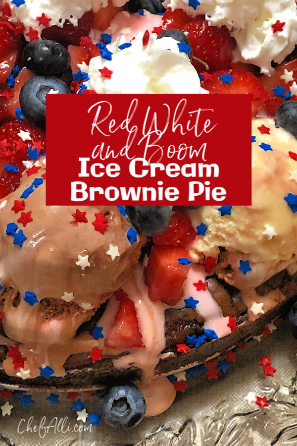 Red White and Boom Ice Cream Brownie Pie is so fun, it should be illegal! A delicious brownie base is piled high with Neapolitan ice cream, hot fudge topping, berries, bananas, whipped cream and, of course, sprinkles! Your guests are sure to be cheering (loudly!) for this easy, decadent creation.