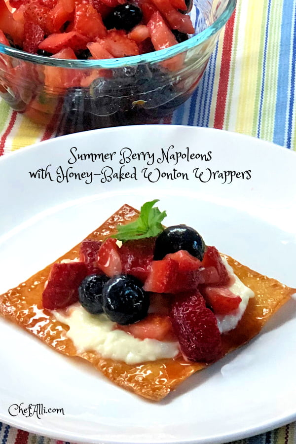 Summer Berry Napoleons with Honey-Baked Wonton Wrappers. Yep, that's a mouthful! But just wait until you get a taste of this delightful summer dessert! Sweet berries perched on top a creamy filling that's spread over a crunchy honey-baked wonton base - absolutely delightful. #Summer #wonton #napoleons #creamy #crispy #dessert #sweet