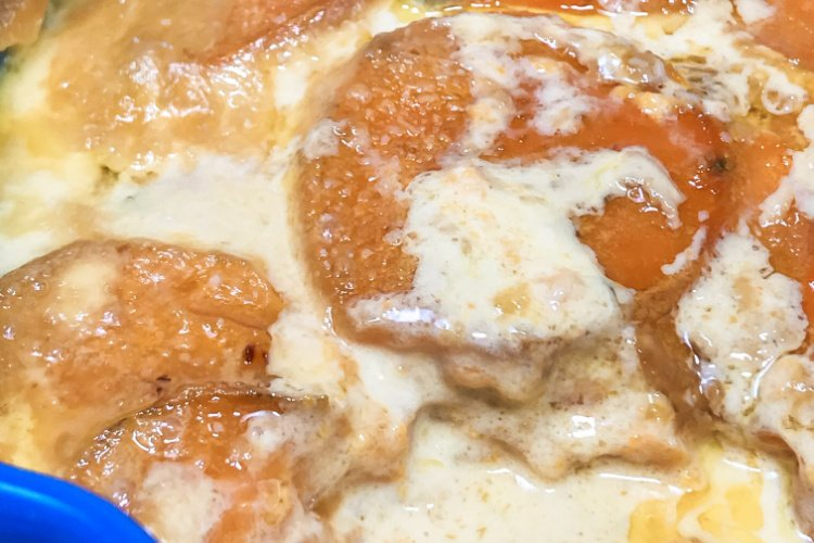 Sweet potatoes in a creamy au gratin sauce.