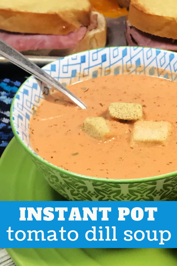 A bowl brimming with creamy tomato dill soup.