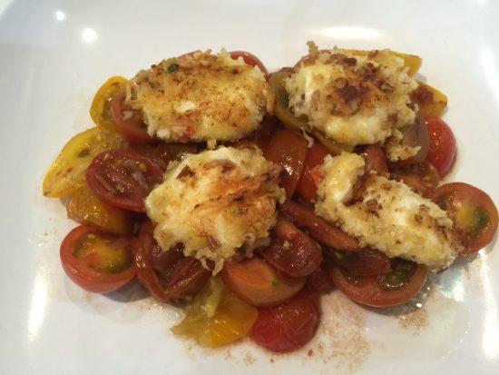 Heirloom Tomato Salad with Pecan-crusted Mozzerella