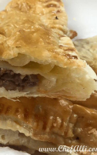 "If you love beef, like my family does, then you will adore these cheesy Roast Beef pies in puff pastry, better known as Roast Beef Wellington Packets. To satisfy the hard-working appetites in my house, these meat-filled (and portable, if necessary) ""hand pies"" hit the spot every time. Who wouldn't love in a flaky puff-pastry crust filled with roast beef, mushrooms, and swiss cheese dipped in a zippy horseradish sauce?!"