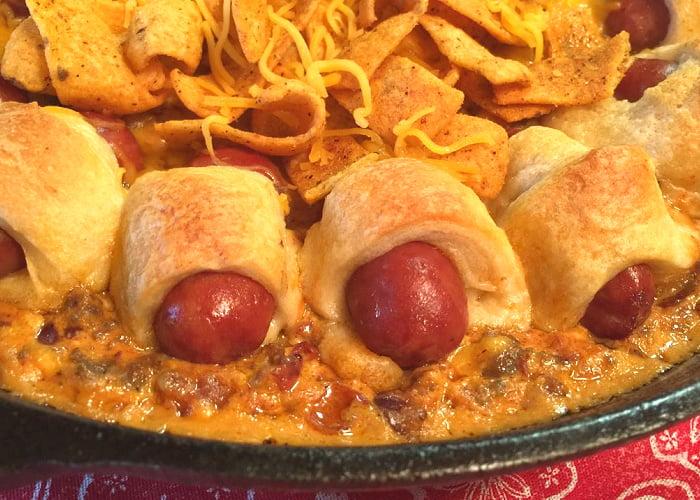 Everyone loves a pan of Chili Cheese Dog Dip.