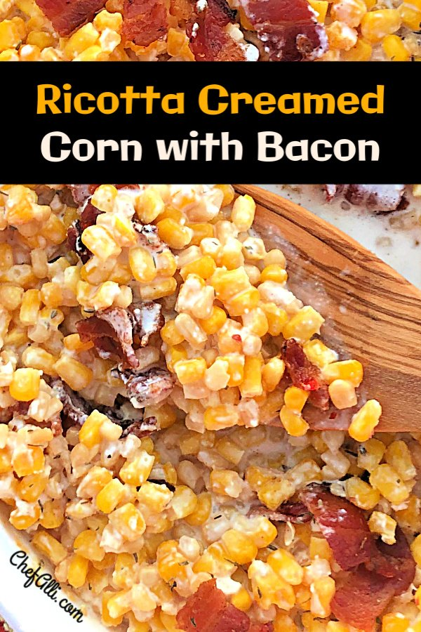 A baked corn casserole topped with crisp bacon, made in a baking dish or a cast iron skillet.
