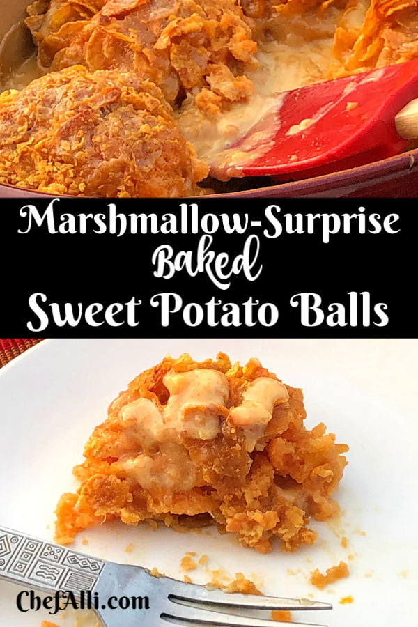 My family went totally bonkers over these Marshmallow-Surprise Baked Sweet Potato Balls with Crunchy Cornflakes for Thanksgiving Dinner! This casserole is super fun to make, not to mention easy! Now, is this casserole healthy? Nope! But calories and fat don't count when it's Thanksgiving, right??? #SweetPotatoes #Casserole #ForThanksgiving #Mashed #Easy #Candied