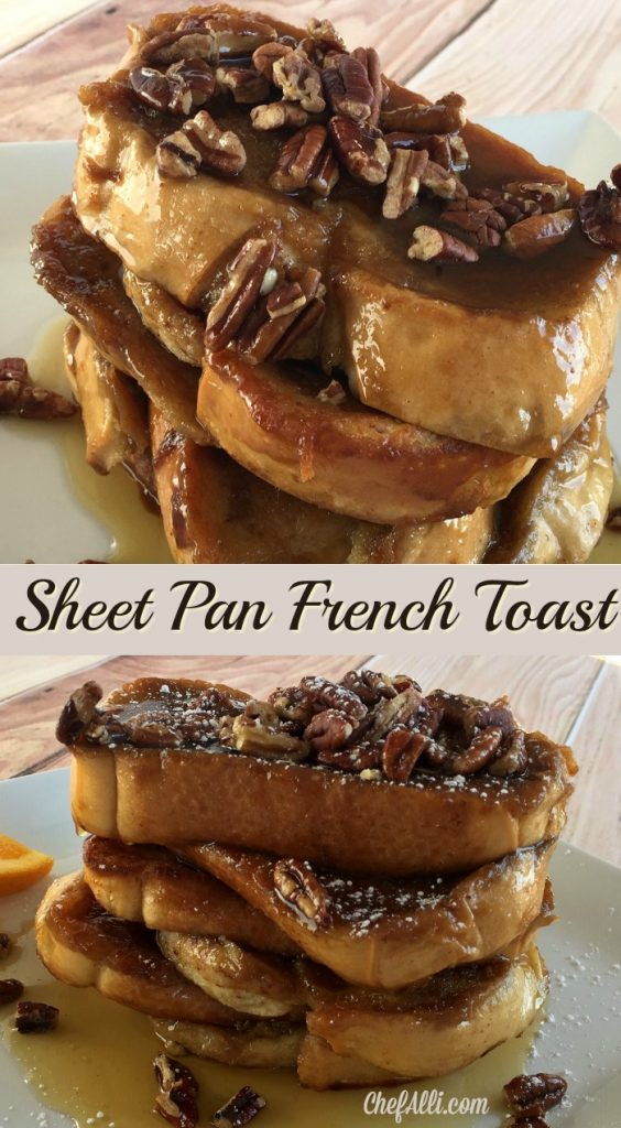 This is the most wonderful, easy Sheet Pan French Toast bake to make for a group of people.  We love how simple this breakfast recipe is to just pop into the oven for any breakfast or brunch gathering.
