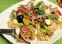 A plate of Zesty Italian Pasta Salad is always refreshing.