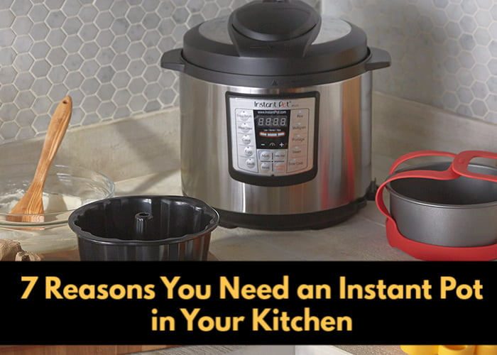 Instant Pot on the cupboard.