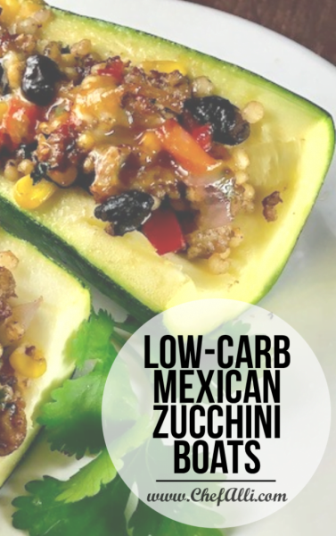 Low-Carb Mexican Zucchini boats are packed with your favorite burrito flavors! Loaded with veggies, heart-healthy grains, and just a little heat, they are a low-carb must for this week's menu!