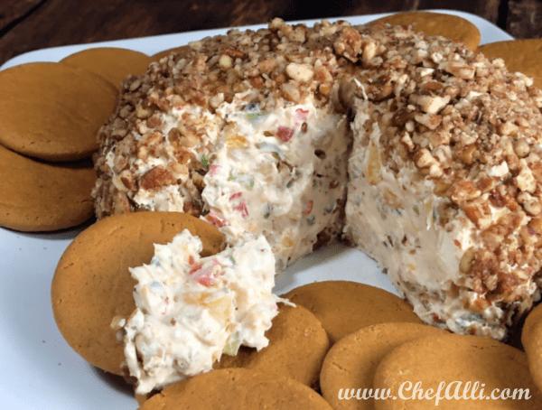 Spicy Sweet Hawaiian Cheeseball with Ginger Snaps