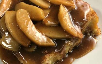 Are you looking for a decadent French Toast recipe for brunch? This Oven-Baked Caramel Apple French Toast is amazing! My family and guests always request this recipe it's so good!
