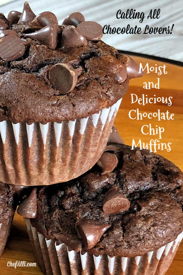 Chocolate Chocolate-Chip Muffins are moist and delicious.