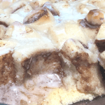 Cinnamon Roll French Toast. Never was there a more perfect breakfast bake title. This ooey, gooey Glazed Cinnamon Roll French Toast is TO DIE FOR! And guess what? You can make it in the oven, in your slow cooker, OR in your Instant Pot. It's a breakfast miracle! #breakfast #cinnamonroll #frenchtoastbake