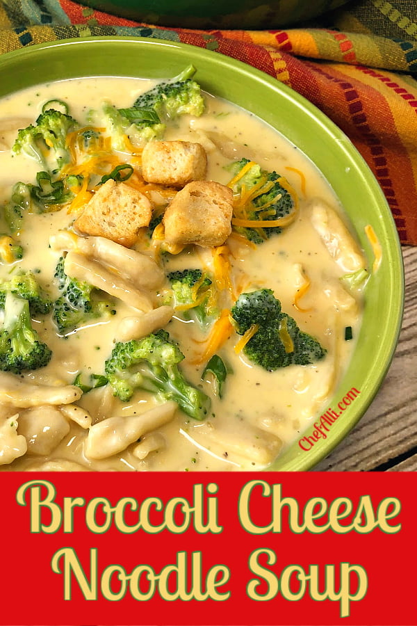 A bowl of broccoli cheese noodle soup.