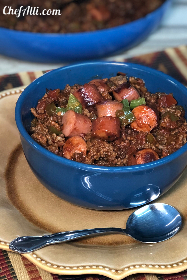 We absolutely cannot stop eating this chili! Chili-Dog-Chili Bowls are hearty, low-carb, no-beans and chock full of ground beef....the hot dogs are an added bonus.