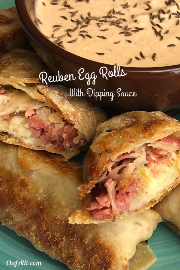 To celebrate St. Patrick's Day, I am sharing classic Irish flavors with a modern twist: Reuben Egg Rolls! Filled with corned beef, saurkraut, and swiss cheese, these delightful little packets and their tasty dipping sauce will make you forget all about that elusive pot of gold....
