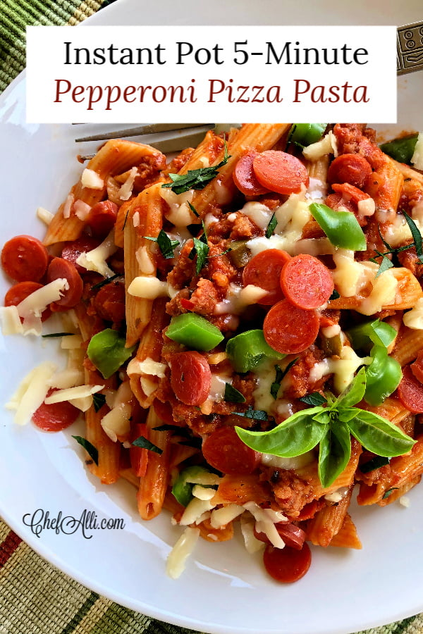 This!!  Instant Pot 5-Minute Pepperoni Pizza Pasta.  Such a speedy and flavorful one-pot meal, made in MERE MINUTES in your Instant Pot.  This pasta meal is hearty and filling and my guys go crazy for it.