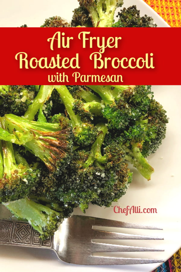 Air fryer broccoli with a fork on a plate